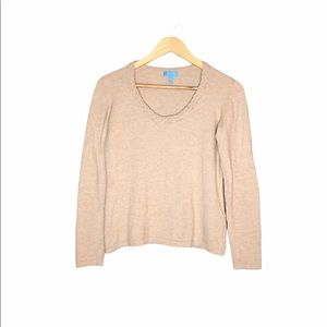 Escada Sport Tan Merino Blend Crew Neck Sweater M